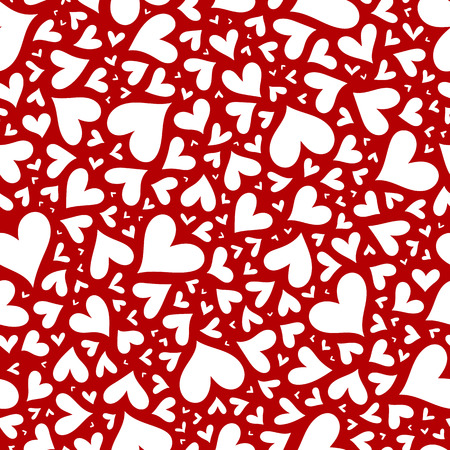 love symbols: Red hearts seamless pattern. Doodle hearts pattern. Hand drawn ornament. Stock Photo
