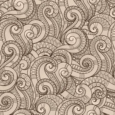 Seamless asian ethnic floral retro doodle background pattern.  Henna paisley mehndi doodles design tribal pattern. Stock Photo