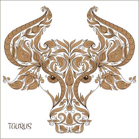 tendrils: Zodiac sign - Taurus. Hand drawn doodle scorpion with elements of the ornament in ethnic style, of lace flowers, tendrils and leaves .  Isolated on white. Stock Photo