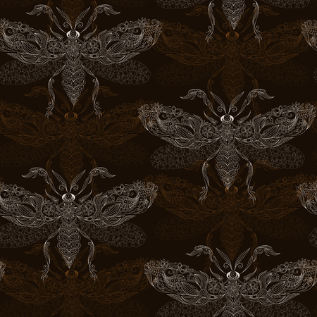 creatures: Night creatures seamless pattern with moths. Hand drawn insects. Stock Photo