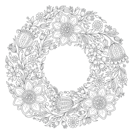 Flowers wreath. Coloring book page for adult. Vector. Hand drawn vintage artwork. Love bohemia concept for wedding invitation, card, ticket, branding, boutique logo, label