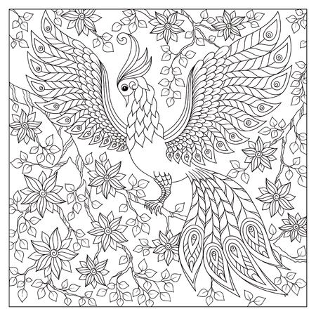 Adult antistress coloring page. Black and white hand drawn doodle for coloring book Illustration