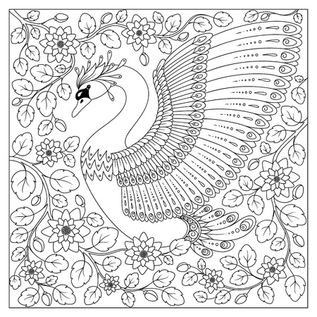 Hand drawing artistic Swan in flowers for adult coloring pages  in doodle, zentangle tribal style, ethnic ornamental patterned tattoo, logo, t-shirt or prints. Animal bird vector illustration. 矢量图像