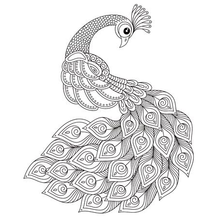 Pauw. Volwassen antistress kleurplaat. Zwart en wit hand getrokken doodle voor kleurboek. Geïsoleerd op witte achtergrond Stock Illustratie