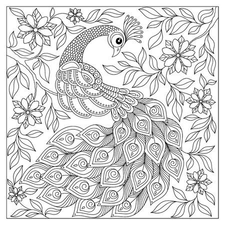 Exotischer Vogel, Fantastische Blumen, Zweige, Blätter. Vintage Hand ...