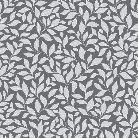Grey seamless autumn pattern. Abstract grey seamless pattern with leaves. Vector illustration.