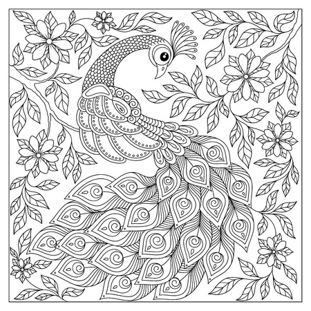 Vintage hand drawn pattern black and white doodle peacock. design. Sketch for adult antistress coloring page, tattoo, poster, print, t-shirt, invitation, cards, banners, flyers, calendars