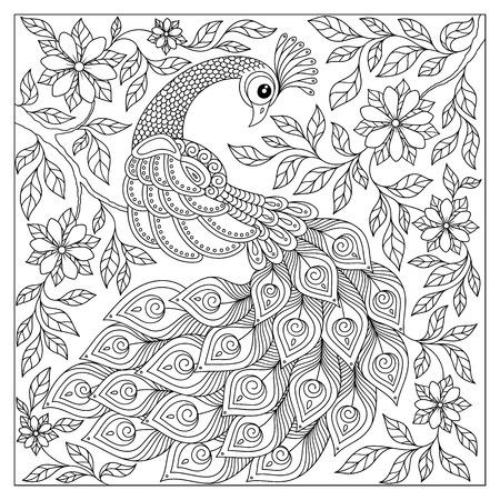 Vintage hand getekende patroon zwart en wit doodle pauw. ontwerp. Schets voor volwassen antistress kleurplaat, tattoo, poster, print, t-shirt, uitnodiging, kaarten, banners, flyers, kalenders