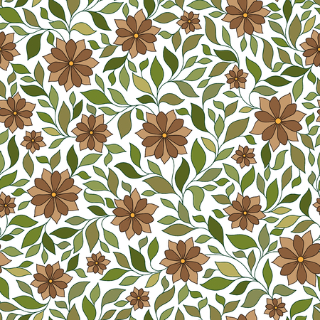 mhendi: Seamless vector floral pattern with colorful fantasy plants and flowers, pattern can be used for wallpaper, pattern fills, web page background, surface textures Illustration