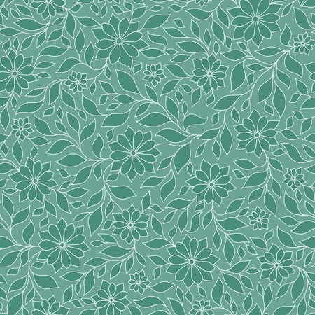 be green: Seamless green vector floral pattern with colorful fantasy plants and flowers, pattern can be used for wallpaper, pattern fills, web page background, surface textures Illustration