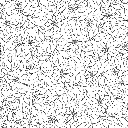 Vector Seamless Monochrome Floral Pattern. Hand Drawn Floral Texture, Decorative Flowers, Coloring Book 矢量图像