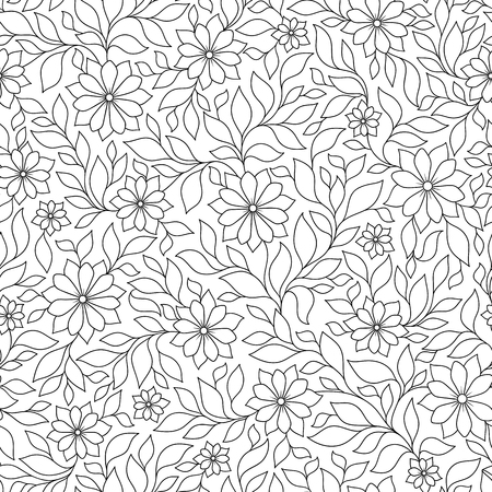 Vector Seamless Monochrome Floral Pattern. Hand Drawn Floral Texture, Decorative Flowers, Coloring Book Иллюстрация