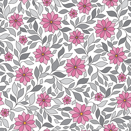Vector illustration of seamless pattern with abstract flowers.Floral background Иллюстрация