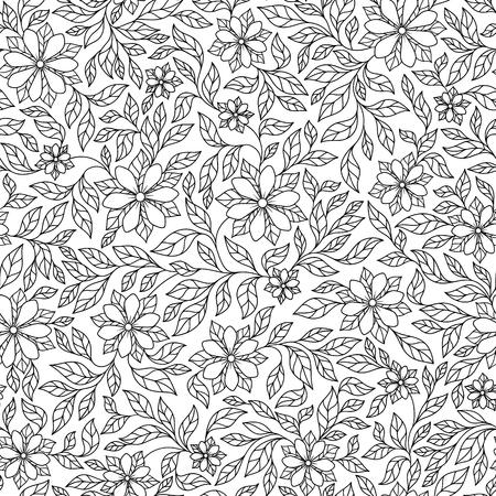 Vektor nahtlose monochrome Blumenmuster. Hand gezeichnete Blumen Textur, dekorative Blumen, Malbuch Vektorgrafik