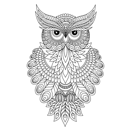 Decorative ornamental Owl. Vector illustration Illustration