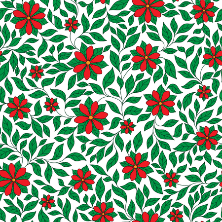colourfull: Seamless retro colourfull red flower pattern in vector