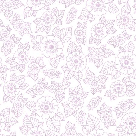 violet flower: Vector violet flower pattern. Seamless botanic texture, detailed flowers illustrations. Floral pattern in doodle style, spring floral background. Illustration