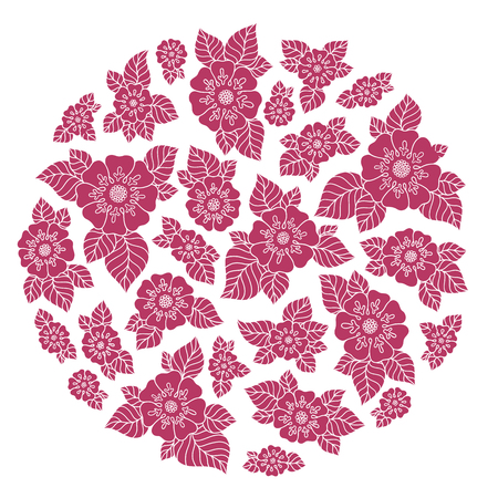 rosebud: Vintage elegant raster background with a bouquet of flowers . Hand Drawn Ornament with Floral Wreath. Template for Greeting Card. Paisley Flowers Illustration Design Illustration