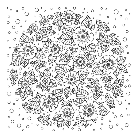 Black and white circle flower ornament, ornamental round lace design. Floral mandala. Hand drawn ink pattern made by trace from personal sketch.