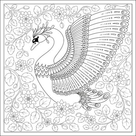 cisnes: aves exóticas, flores fantásticas, ramas, leaves.Hand dibujo cisne artística en flores para colorear páginas para adultos en doodle de la página del libro .Coloring para adultos y niños. Colección blanca del pájaro negro. Conjunto de ilustración.