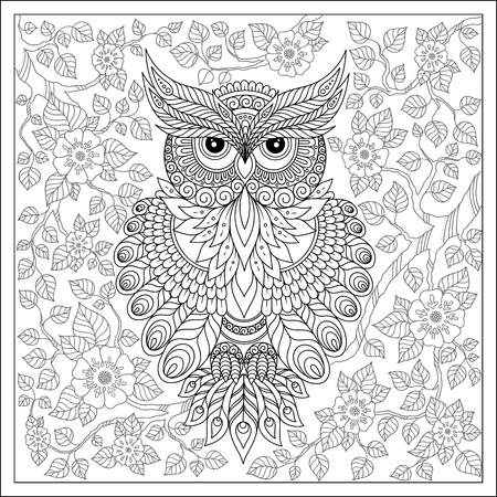 printable: Exotic bird,fantastic flowers,branches, leaves. Coloring page with cute owl and floral frame. Coloring book page for adults and children. Black White Bird collection. Set of illustration. Illustration