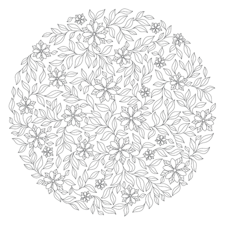 japanise: Coloring book for adult and older children. Coloring page with vintage flowers pattern. Floral ornament. Art mandala style. Black and white background. Could be use for coloring book in zentangle style. Illustration