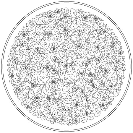 japanise: Coloring book for adult and children. Coloring page with vintage flowers pattern. Floral ornament. Art mandala style. Black and white background. Could be use for coloring book in zentangle style.