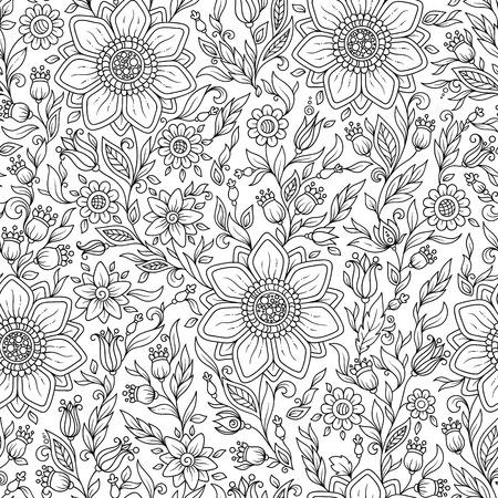 Vektor nahtlose monochrome Blumenmuster. Hand gezeichnete Blumen Textur, dekorative Blumen, Malbuch