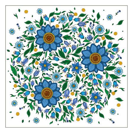 Bunte romantische runden Muster mit Blumen. Kann für Karten, Einladungen, Stoffe, Tapeten, Zier-Vorlage für Design und Dekoration verwendet werden. Vektorgrafik