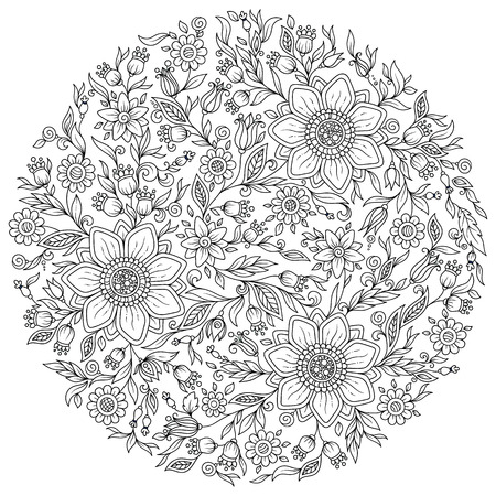 japanise: Floral ornament. Art mandala style. Black and white background. Could be use for coloring book in zentangle style.