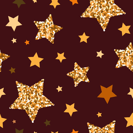 Seamless pattern with gold glitter textured stars on the dark red background.