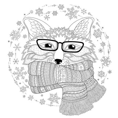 Fox Está Usando Una Bufanda. Dibujo Para Colorear - Zendala, Diseño ...