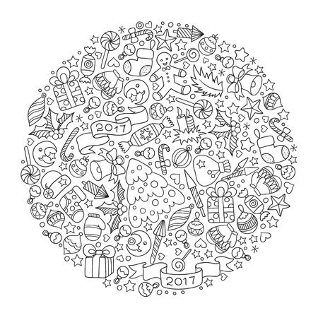motif pour le livre à colorier . éléments décoratifs dessinés à la main dans le style vintage . boules de noël pour noël et vintage . éléments de noël . conception de noël .