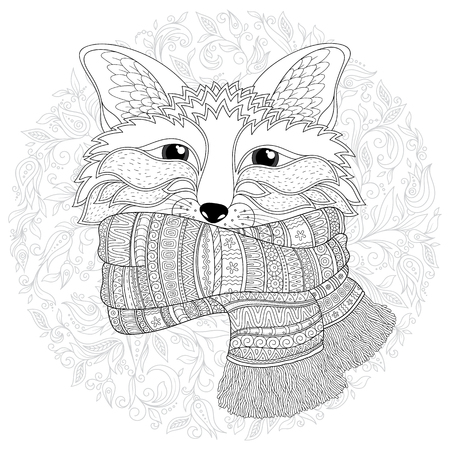 Fox is wearing a scarf.   Black white hand drawn doodle animal. Ethnic patterned vector illustration. African, indian, totem, tribal, zentangle design. Sketch for coloring page, tattoo, poster, print, t-shirt