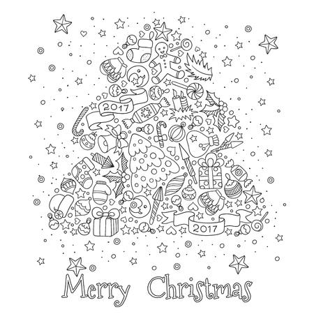 Motif pour livre de coloriage. tiré par la main-Noël éléments décoratifs en vecteur. Arbre de Noël à partir d'éléments de décoration de Noël. motif noir et blanc. le style Zentangle Doodles.