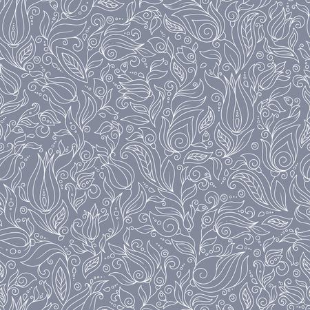 Seamless Pattern. Paisley Flowers Illustration Design Elements