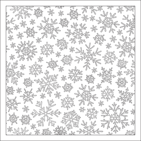 Christmas pattern from snowflakes for a card and coloring book. Christmas hand-drawn doodle decorative elements in vector. Black and white.