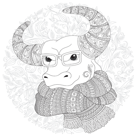 Hand drawn doodle outline cow head decorated with ornaments. Bull  in a scarf and glasses. Freehand sketch for adult anti stress coloring book page with doodle and zentangle elements.