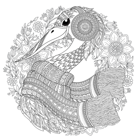 Strok, fantastic flowers, branches, leaves. For anti stress Coloring Page . Coloring book page for adults and children. Black White Bird collection. Set of illustration. 矢量图像