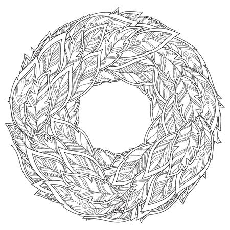 Zentangle feather mandala 矢量图像