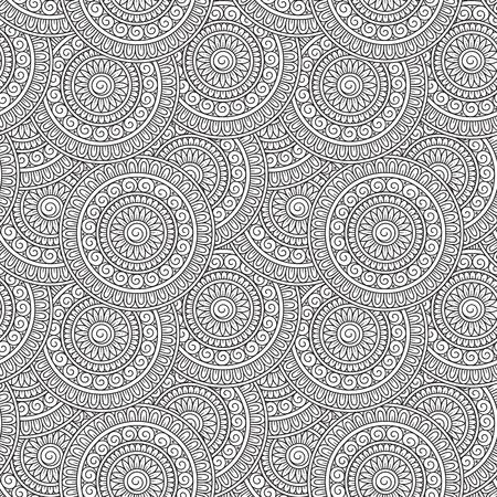 Krabbelachtergrond in vector met krabbels, bloemen en Paisley. Vector etnische patroon kan worden gebruikt voor behang, opvulpatronen, kleurboeken en pagina's voor kinderen en volwassenen. Zwart en wit. Stock Illustratie