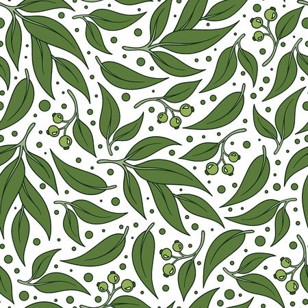 Leaf. Seamless pattern. Eucalyptus. Vector illustration