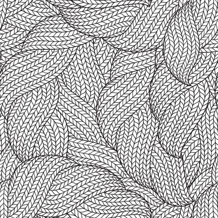 大人の塗り絵のシームレスなパターン。抽象的なモノクロ手波線ニット ウォームで描かれた抽象的なシームレス パターン  イラスト・ベクター素材