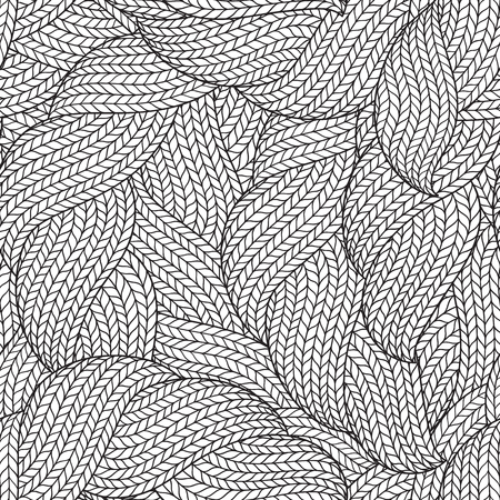 Seamless pattern for coloring book for adult. Abstract monochrome hand drawn abstract seamless pattern with wavy lines   knitted warm