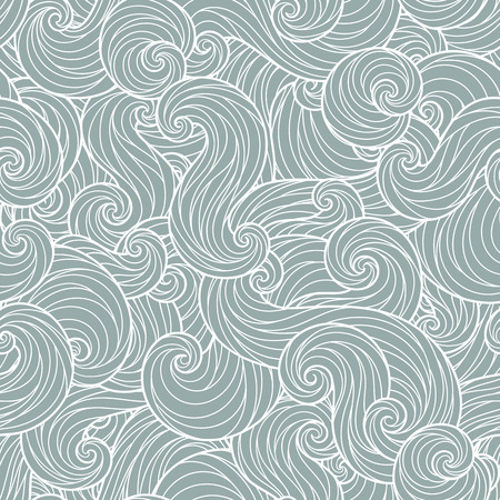 Seamless abstract hand-drawn waves pattern, wavy background Illustration