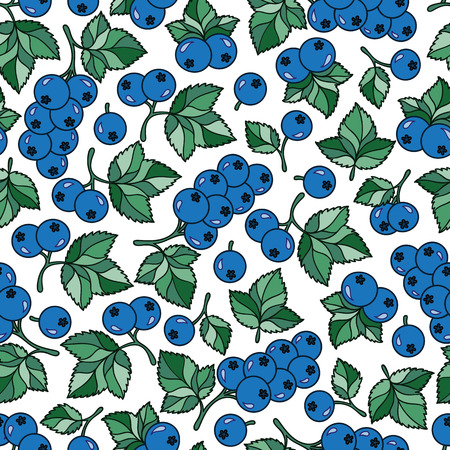 Natural organic seamless pattern with cartoon juicy currant Illustration