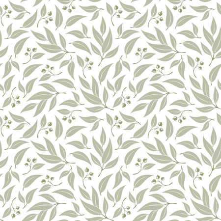 Seamless pattern branches of eucalyptus. Vector illustration.Green floral background