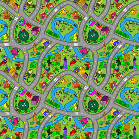 Vector seamless pattern A lot of cars on a summer forest roads. Illustration