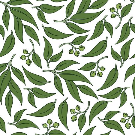 Seamless green leaf pattern Eucalyptus leaves background. Illustration