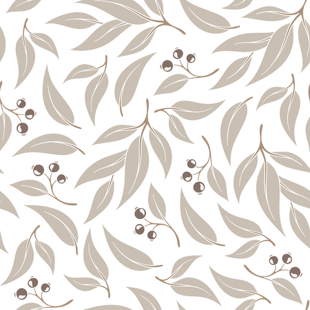 Seamless pattern branches of eucalyptus. Vector illustration. Beige floral background